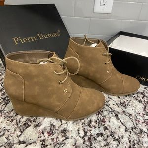 Taupe Wedged Ankle Booties- Pierre Dumas